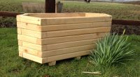 Small Wooden Hexagon Trough Planter - H35cm x L70cm