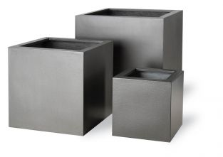 100cm Geo Aluminium Finish Cube Planter