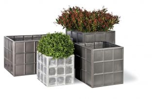 50cm Downing Street Medium Cube Planter in Faux Lead