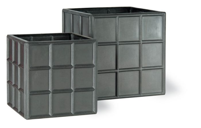 60cm Downing Street Large Cube Planter in Faux Lead