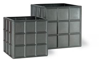 100cm Downing Street Extra Large Cube Planter in Faux Lead