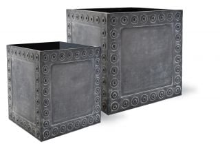 50cm Cromwell Cube Planter in Antique Faux Lead - Small