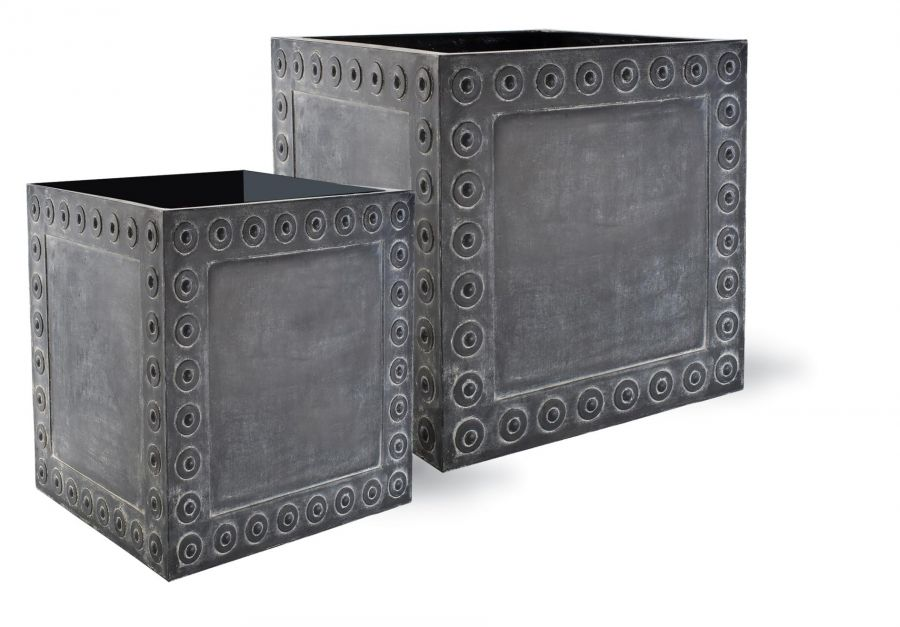 61cm Cromwell Cube Planter in Antique Faux Lead - Medium