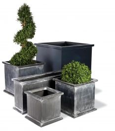 50cm Grosvenor Medium Cube Planter in Faux Antique Lead