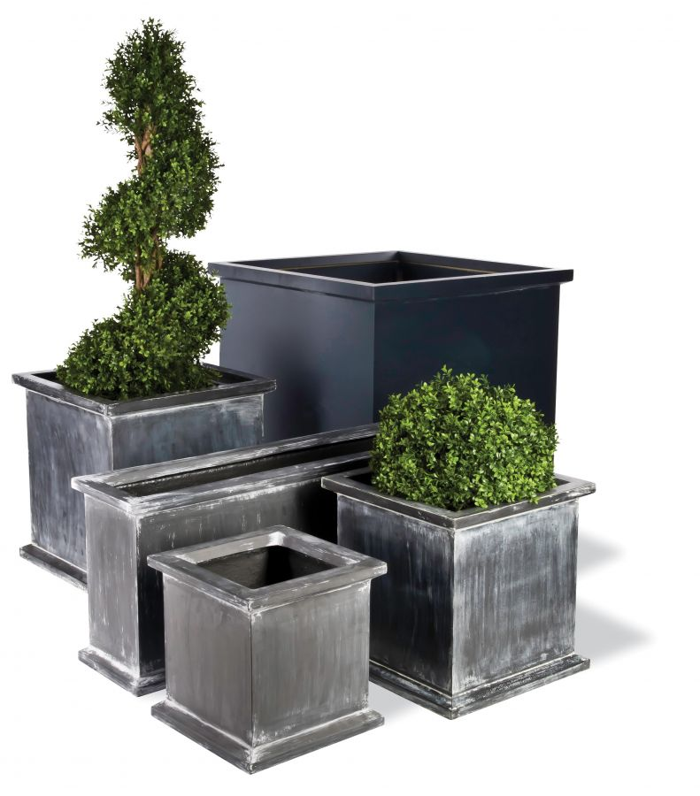 60cm Grosvenor Large Cube Planter in Faux Antique Lead