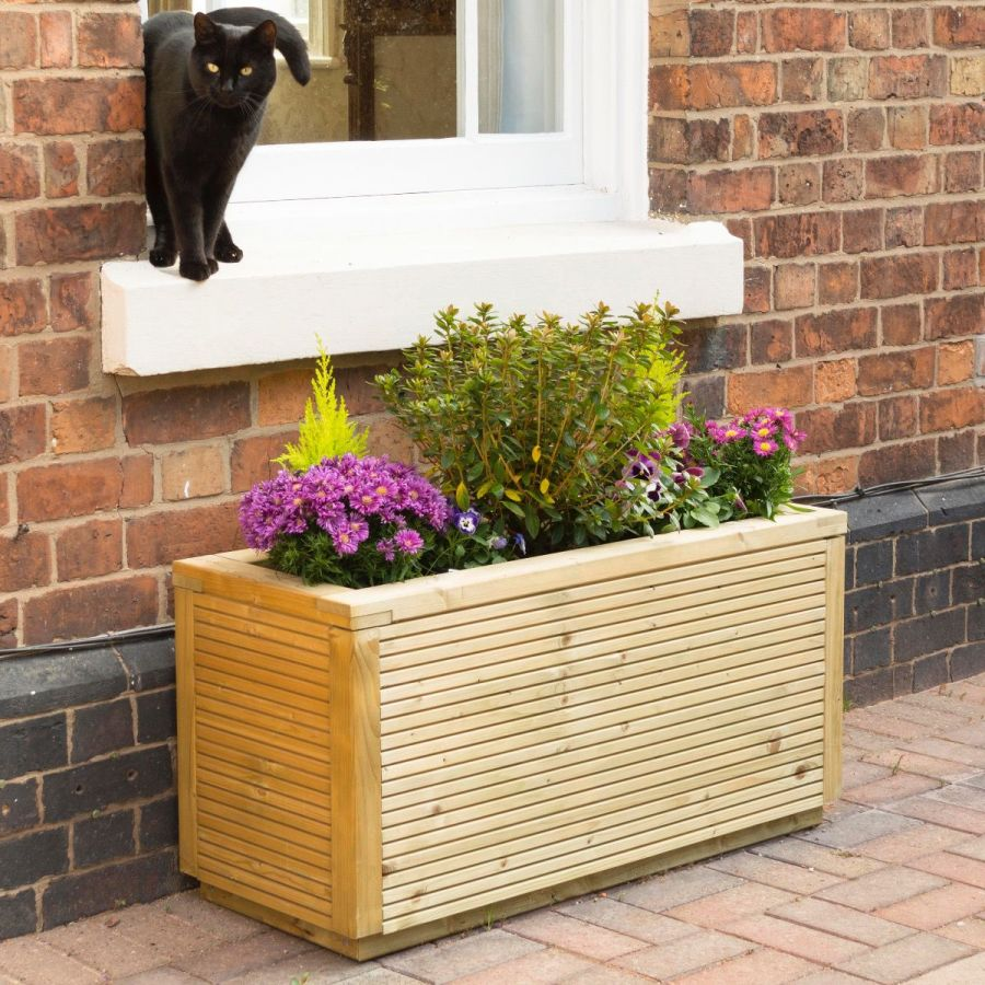 100cm Ellesmere Wooden Rectangular Planter FSC® by Rowlinson®