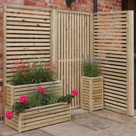 H1.80m (5ft 10in) Wooden Slat Panel Pack of 4 FSC® by Rowlinson®