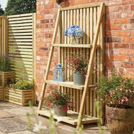 H1.80m (5ft 11in) Tiered Wooden Outdoor Plant Ladder FSC® by Rowlinson®