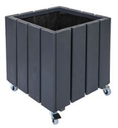 40cm Valmiera Planter with Casters in Black