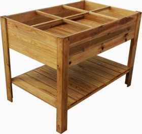 Six Sectioned Grow Bed with Shelf 1.2m x 80cm (H88cm)