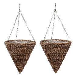 Set of Two 30cm Rafiki Hanging Cone Planters by Smart Garden