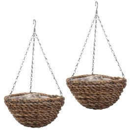 Set of Two 36cm Rafiki Hanging Basket Planters by Smart Garden