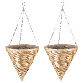 Set of Two 30cm Gilgil Hanging Cone Planters by Smart Garden