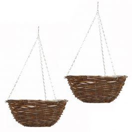 Set of Two 30cm Rattan Hanging Basket Planters by Smart Garden