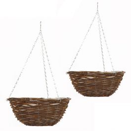 Set of Two 36cm Rattan Hanging Basket Planters by Smart Garden