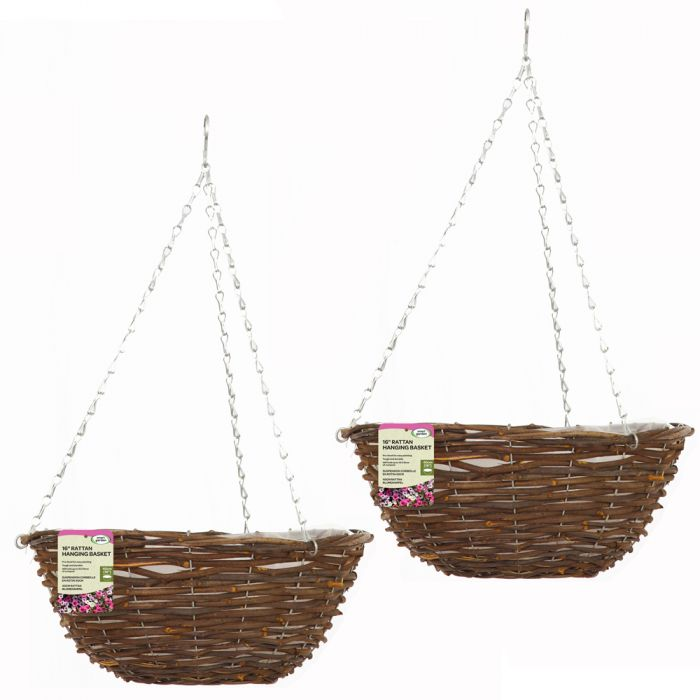 Set of Two 40cm Rattan Hanging Basket Planters by Smart Garden