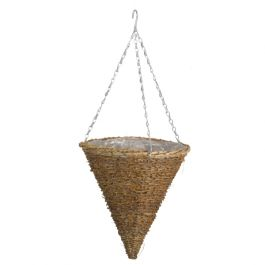 30cm Country Rattan Hanging Cone Planter - by Smart Garden