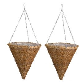 Set of Two 30cm Country Rattan Hanging Cone Planters by Smart Garden