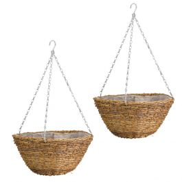Set of Two 30cm Country Rattan Hanging Basket Planters by Smart Garden