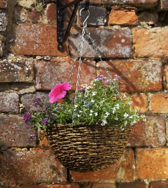 36cm Country Rattan Hanging Basket Planter - by Smart Garden