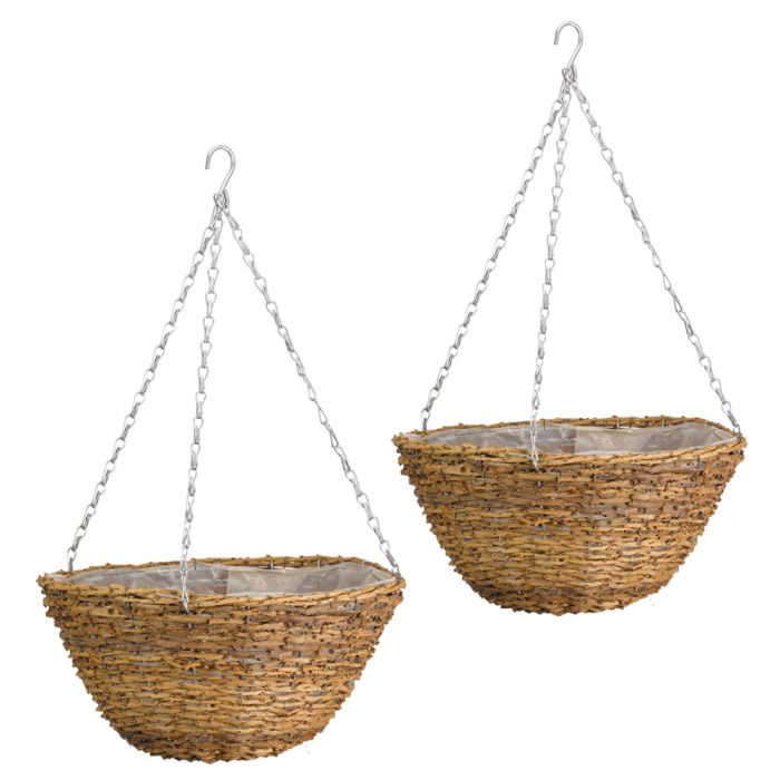 Set of Two 36cm Country Rattan Hanging Basket Planters by Smart Garden