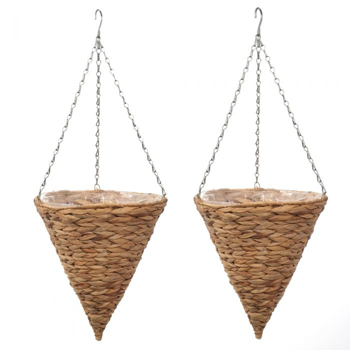 Set of Two 30cm Natural Hyacinth Hanging Cone Planters by Smart Garden