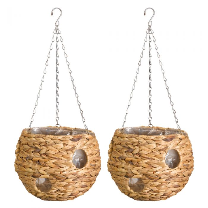 Set of Two 22cm Natural Hyacinth Hanging Ball Planters by Smart Garden