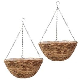 Set of Two 36cm Natural Hyacinth Hanging Basket Planters by Smart Garden