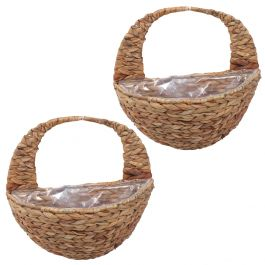 Set of Two 40cm Natural Hyacinth Hanging Wall Basket Planters by Smart Garden