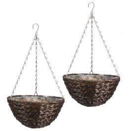 Set of Two 36cm Dark Hyacinth Hanging Basket Planters by Smart Garden