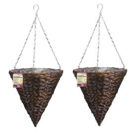 Set of Two 30cm Dark Hyacinth Hanging Cone Planters by Smart Garden