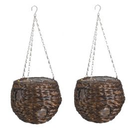 Set of Two 22cm Dark Hyacinth Hanging Ball Planters by Smart Garden