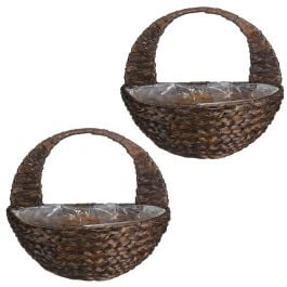 Set of Two 40cm Dark Hyacinth Hanging Wall Basket Planters by Smart Garden