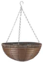 36cm Faux Rattan Chestnut Brown Hanging Basket Planter - by Smart Garden