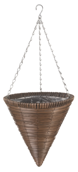 36cm Chestnut Brown Faux Rattan Hanging Cone Planter - by Smart Garden