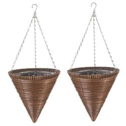 Set of Two 36cm Faux Rattan Hanging Cone Planters in Chestnut Brown by Smart Garden