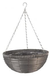 36cm Faux Rattan Slate Hanging Basket Planter - by Smart Garden