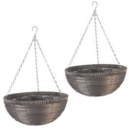Set of Two 36cm Faux Rattan Hanging Basket Planters in Slate by Smart Garden