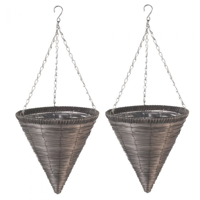Set of Two 35cm Faux Rattan Hanging Cone Planters in Slate by Smart Garden