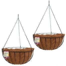 Set of Two 30cm Pre-Lined Metal Hanging Basket Planters by Smart Garden