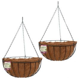 Set of Two 40cm Pre-Lined Metal Hanging Basket Planters by Smart Garden