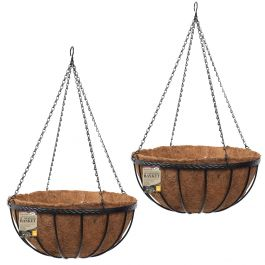Set of Two 30cm Saxon Hanging Basket Planters by Smart Garden