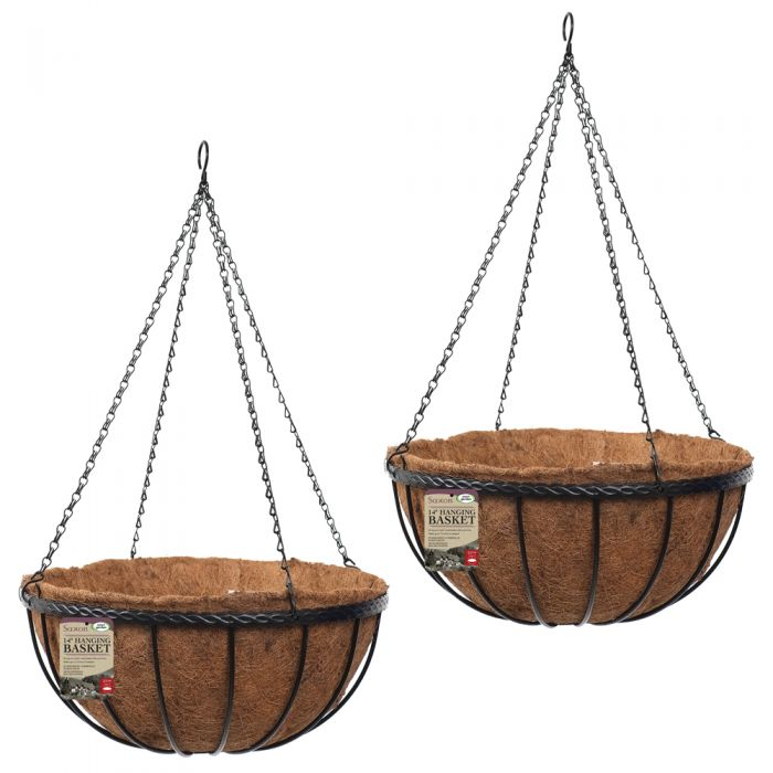 Set of Two 36cm Saxon Hanging Basket Planters by Smart Garden