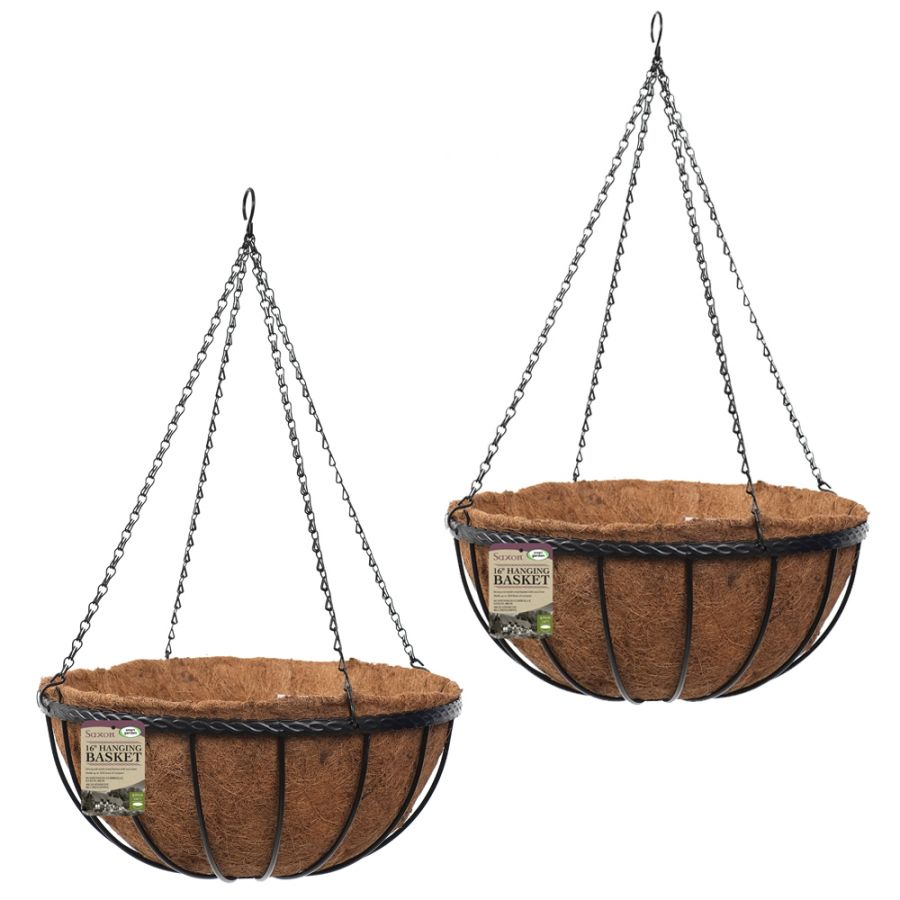 Set of Two 40cm Saxon Hanging Basket Planters by Smart Garden