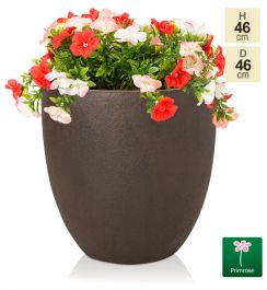 H46cm Large Egg-Shape Rust Effect Fiberclay Planter