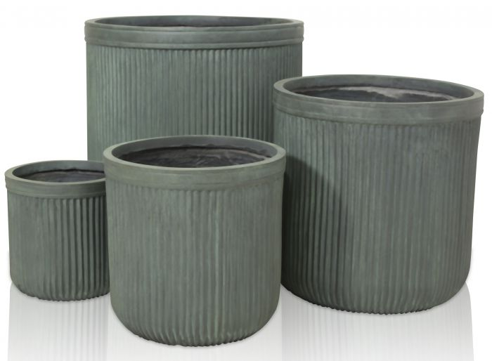H40cm Moss Green Washed Striped Fibrecotta Planter