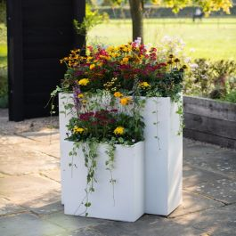 H91cm Large Cream Tall Trough Planter With Insert