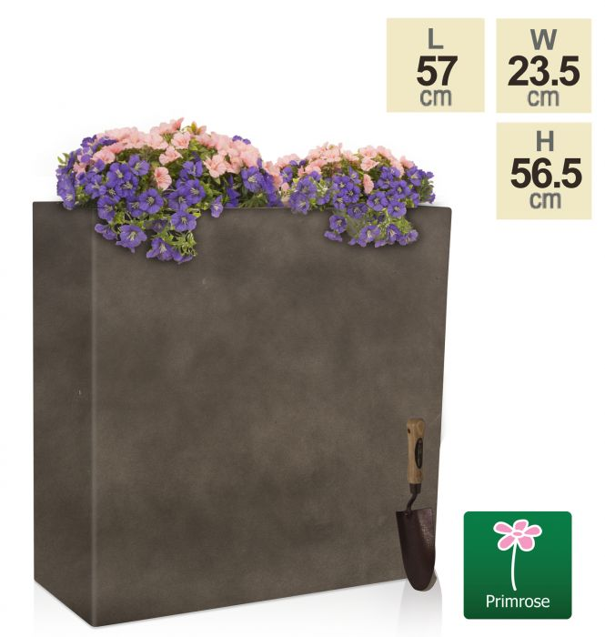 H56.5cm Small Anthracite Tall Trough Planter With Insert