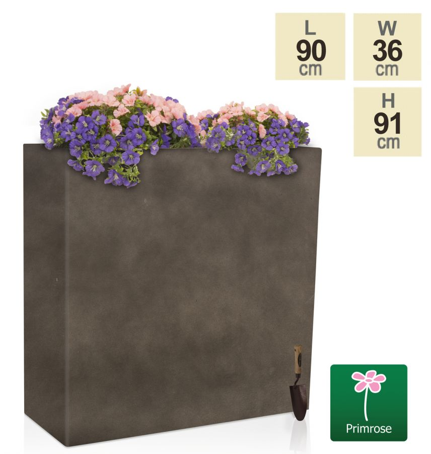 H91cm Large Anthracite Tall Trough Planter With Insert