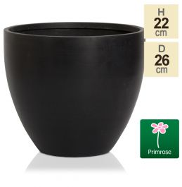 D26cm Light Polystone Medium Egg Shape Pot in Black